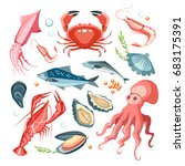 seafood collection set... | Shutterstock .eps vector #683175391