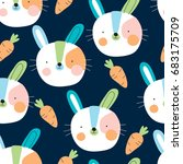 seamless cute bunny rabbit with ... | Shutterstock .eps vector #683175709