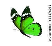 Stock photo beautiful green monarch butterfly isolated on white background 683176051