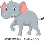 happy elephant cartoon | Shutterstock .eps vector #683176771