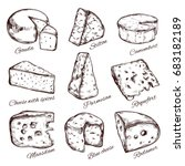 cheese collection. hand drawn ... | Shutterstock . vector #683182189