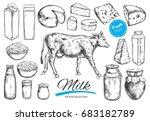 dairy products  collection. cow ... | Shutterstock . vector #683182789