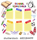 school timetable for students... | Shutterstock . vector #683184499