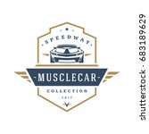 muscle car logo template vector ... | Shutterstock .eps vector #683189629