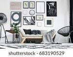 artistic black and white living ... | Shutterstock . vector #683190529