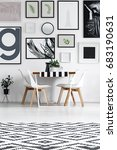 dining room in black and white...   Shutterstock . vector #683190631
