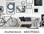 vintage bike by wooden sofa in... | Shutterstock . vector #683190661