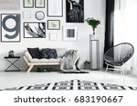 wooden white sofa with black... | Shutterstock . vector #683190667
