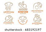 set elephant logo   ... | Shutterstock . vector #683192197