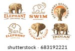 set elephant logo   ...   Shutterstock . vector #683192221