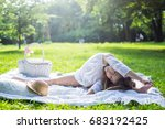 beautiful little girl in a park ... | Shutterstock . vector #683192425