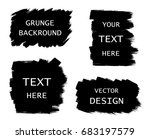 grunge set of black paint  ink... | Shutterstock .eps vector #683197579
