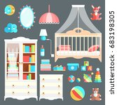 furniture and toys for baby... | Shutterstock .eps vector #683198305