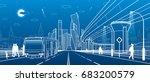 the passengers left bus.... | Shutterstock .eps vector #683200579