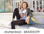 beautiful african american... | Shutterstock . vector #683203159