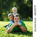 two son's sit on the father's...   Shutterstock . vector #6832075