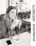 black and white portrait of... | Shutterstock . vector #683208271