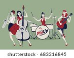 pinup girls band. four... | Shutterstock .eps vector #683216845