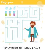 maze game. scientist  flasks.... | Shutterstock .eps vector #683217175