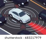 vehicle autonomous driving... | Shutterstock .eps vector #683217979