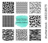 hand drawn textures. scribble... | Shutterstock .eps vector #683218075