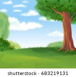 cozy green lawn under a shady... | Shutterstock .eps vector #683219131
