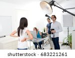 group of four photographer... | Shutterstock . vector #683221261