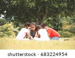happy children playing and... | Shutterstock . vector #683224954