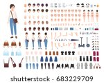 city woman character... | Shutterstock .eps vector #683229709