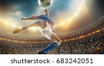 soccer player kicks the ball... | Shutterstock . vector #683242051