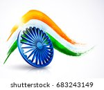 3d ashoka wheel with indian... | Shutterstock .eps vector #683243149