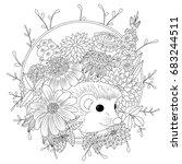vector illustration hedgehog... | Shutterstock .eps vector #683244511