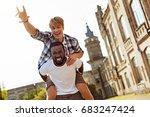 genuine goofy guy having fun... | Shutterstock . vector #683247424