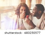 cheerful handsome man proposing ... | Shutterstock . vector #683250577