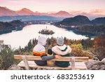 family travel europe. bled lake ... | Shutterstock . vector #683253619
