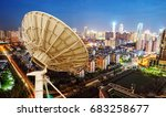 city night view and dish... | Shutterstock . vector #683258677
