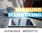 inbound marketing text on... | Shutterstock . vector #683263711