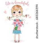 hand drawn beautiful  cute ... | Shutterstock .eps vector #683266594