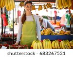 portrait of young saleswoman on ... | Shutterstock . vector #683267521