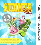 vector summer beach party flyer ... | Shutterstock .eps vector #683267857