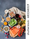 balanced diet food concept.... | Shutterstock . vector #683268319