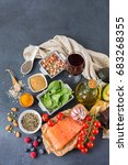 balanced diet food concept.... | Shutterstock . vector #683268355