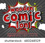 colorful wooden font on comic... | Shutterstock .eps vector #683268529