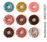 Glazed Donuts Or Doughnuts Set  ...