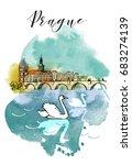watercolor vector background of ... | Shutterstock .eps vector #683274139