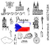 vector set of prague | Shutterstock .eps vector #683274184