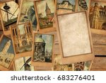 vintage photo cards collage on... | Shutterstock . vector #683276401