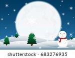 winter landscape background... | Shutterstock .eps vector #683276935