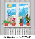 white window with flowers on... | Shutterstock .eps vector #683278045