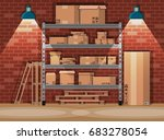 pile cardboard boxes on... | Shutterstock .eps vector #683278054